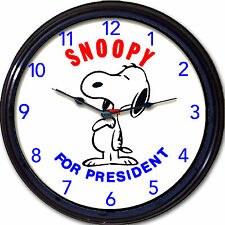 Snoopy for President Peanuts Wall Clock Lucy Charlie Brown Cartoon Dog New 10""