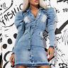 By Alina Mexton Damen Jeanskleid Bodycon-Kleid Partykleid Minikleid  XS S M