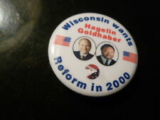 Wisconsin Reform Party Pin Back Presidential Campaign 2000 Button Hagelin Flag