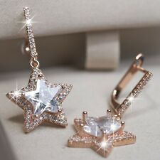 18K ROSE GOLD GF STUD MADE WITH SWAROVSKI CRYSTAL STAR Drop DANGLE EARRINGS