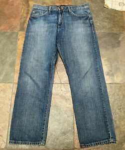 "0621 CALVIN KLEIN Jeans 34 x 30"" Relaxed Straight Leg Dark Denim Jeans B"