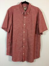 LL Bean Shirt Men Size XL Red TRADITIONAL Fit Short Sleeve Button Front