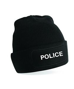Patch Beanie embroidered  - with Police in white lettering
