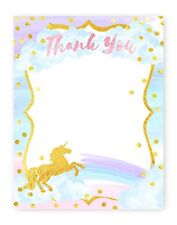 Magical Unicorn Thank You Cards - 10 Cards + 10 Envelopes - Made in the USA