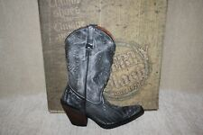WOMENS LIBERTY BLACK MAA003 DISTRESSED BLACK WESTERN BOOTS US SIZE 7 (B215)