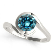 0.50 Carat Blue Diamond Fancy Color Bridal Stylish Ring 14k White Gold Best Deal