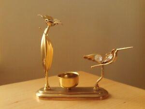Gold Tone Prism Suncatcher Metal Flower and Bird Tealight Holder