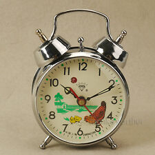 "Chinese Shanghai Diamond Mechanical Alarm Clock Chiken Eat Nod 3.5"""