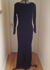 KAY UNGER NEW YORK Black formal long sleeve Maxi Evening Dress lined  Sz 12