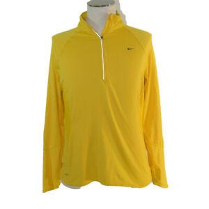 Nike Livestrong fit dry 1/4 zip long sleeve running shirt women's XL yellow