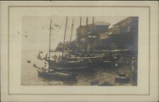 Panama Old Sea Wall & Boats 1909 Real Photo Postcard & Cover Stamp