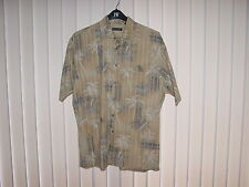 Men's Large Hawaiian SS Tan, Palm Trees by Pierre Cardin, 100% Cotton