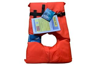 Life Jacket Vest Preserver 1 Pack Type II Orange Adult Fishing Boating USCG PFD