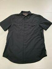Mens Merrell Black Snap Button Short Sleeve Select Dry Hiking Shirt Sz M