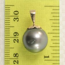 Genuine Pale Black Tahitian Pearl 14k Solid Yellow Gold Flower Bale Pendant TPJ