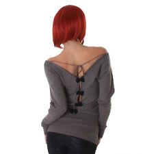 Sexy  Pullover Pulli Feinstrick Pulli mit Schleifen am Rücken Braun 34 36 38