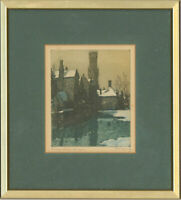 Nicholas Hornyansky (1896-1965) - Framed Etching, Rosary Quay, Bruges