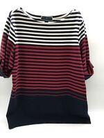 Womens Karen Scott Short Cuffed Sleeve Navy Red And White Striped Top Size 1X