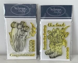 Technique Tuesday BOOTIFUL TULIPS Boots Spring Flowers Rubber Stamps Lot