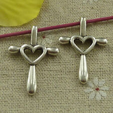 free ship 84 pieces tibetan silver heart cross charms 32x23mm #3250