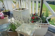 Shabby Deko Korb Haus Garten Küche Bad Utensilien Weiß Gold Eisen 19x44x21cm NEU