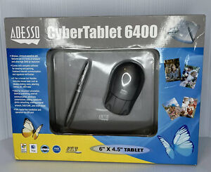 "Adesso CyberTablet 6400 6"" X 4.5"" Graphics Tablet w/ 2 Button Pen Wireless Mouse"
