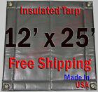 "12' x 25' Insulated Poly Tarp 1/2"" Foam Core Concrete  Padding Wall Cushion Kiln"