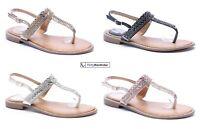 Flat T-bar Sandals Ankle Strap Sequin Diamante Edge Womens Summer Shoes Size