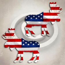 American Flag Moose Decal Sticker Car Truck Alaska Canada Camping Hunting