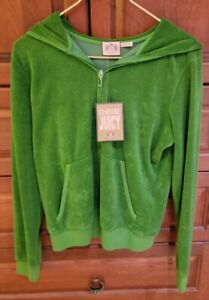 $138 NWT Juicy Couture Green Pink Velour Zip Hoodie Jacket SPARKLY Heart XL L