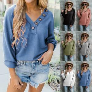 Women Girls V-neck Long Sleeve Casual Solid Button Tunic Top Blouse S-XXL