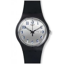 New Swatch Secret Service Black Silicone Band Day Date Watch 43mm SUOB718 $75