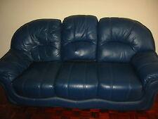 BLUE LEATHER 3 SEATER SETTEE. 3 seater sofa. blue sofa.