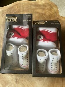 Converse All Star Infant Baby Booties 0-6 Months  4 Pairs BNIB Red/ White