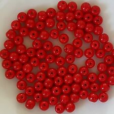 100 Red Opaque Czech Glass Round Beads 4mm crafts - No. 9320