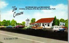 The Corners Ice Cream Bar and Restaurant Rte 29 40 Greenwich NY Vtg Postcard PBA