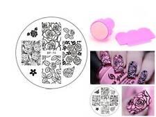 BP 73 Rose Flower Nail Art Stamping Template Image Plate Stamper Scraper Kit