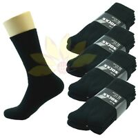 New 3 6 9 12 Pairs CREW Mens Solid Sports Socks Cotton 10-13 Black LOT USA LONG