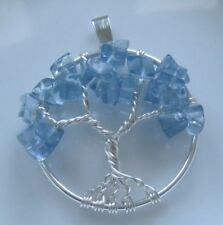 Tree of Life Necklace Pendant Blue Topaz Wrap Silver December Birthstone