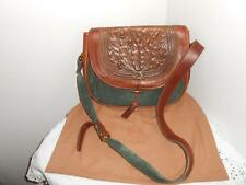*RARE* VTG Loewe Hand Tooled Leather Flap & Suede Cross Body Shoulder Bag Purse