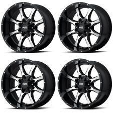 Set 4 17x8 Moto Metal Mo970 Black Machined Truck Wheels 6x5 6x135 40mm With Lugs