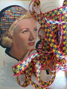 GALON RUBAN Paille Magnifique confection Chapeau 1940 super couleur 400 cm rare