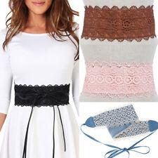 Women Fashion Corset Stretch Waist Crochet Lace Obi Wrap Belt PU Leather Wide