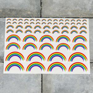 64 x Rainbow Stickers - Planner - Diary - Scrapbooking - Glossy Finish 5422