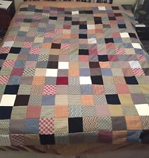 """Vintage UNFINISHED (No Backing) 4x4"""" Square Patchwork Quilt Hand & Machine Sewn"""