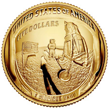 USA 5 Dollar 2019 Apollo 11 - 50 Jahre Mondlandung Gewölbte Prägung Gold PP