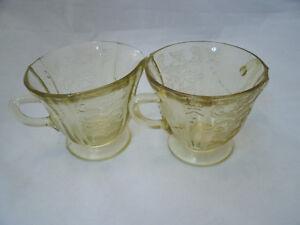 "Federal Glass MADRID Amber Footed Creamer + Open Sugar Bowl 3 1/4"" Depression EC"