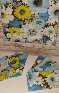 8 Vintage Floral Cloth Napkins Blue Green Unused Flower Power Mod Kitchen Kitsch