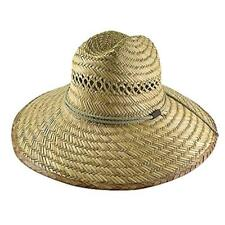 Men's Straw Outback Lifeguard Sun Hat Natural Beach Large Wide Brim w/ Chin Cord