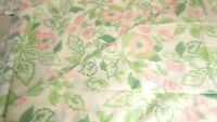 "Vintage Polished Cotton Fabric Pastel Pink and Green Flowers New 2.5 Yds L 58""W"